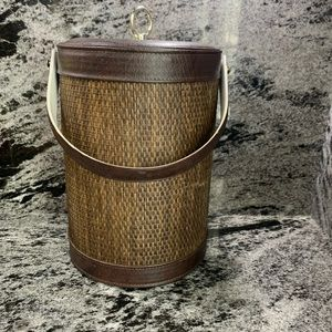 Wicker and Leather Ice Bucket
